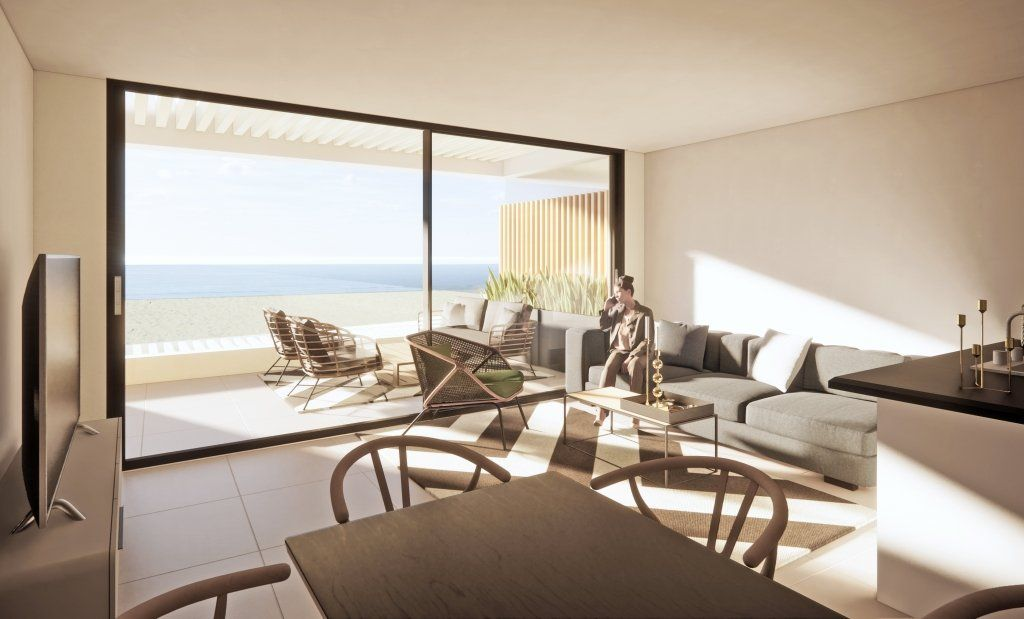 Vista interior desde el salón a la playa