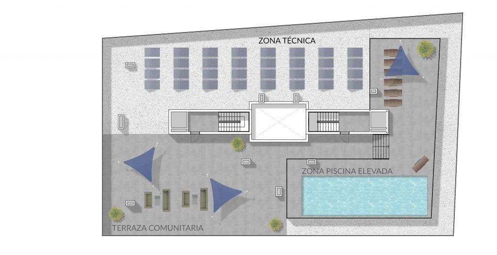 Planta Cubierta edificio Luna Playa